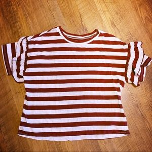 Maroon and white striped tee